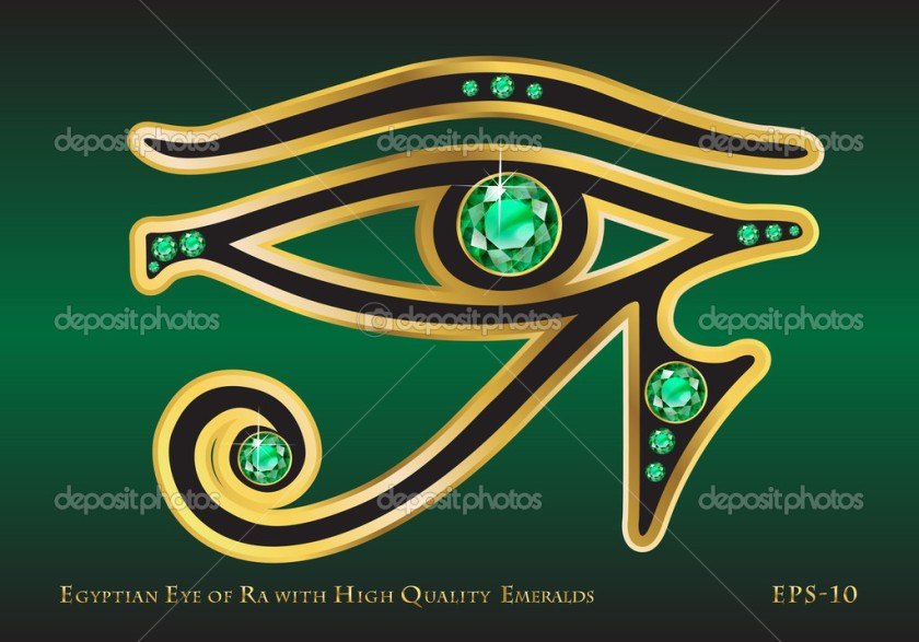 The Egyptian Eye of Ra with Gold and High-Quality Channel-Set Emeralds.